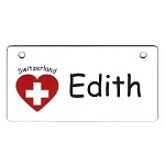Switzerland Heart Flag Crate Tag Personalized With Your Dog's Name